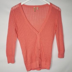 Susina Coral Open Weave Cardigan